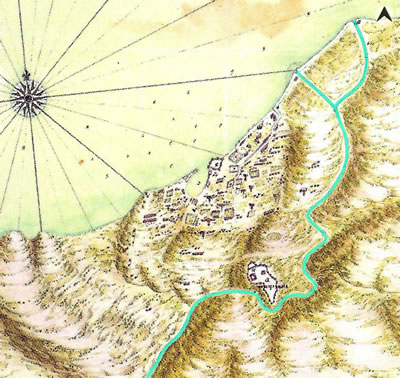 <p><strong>Harita 1.</strong> 1686 tarihli, De  Compes&rsquo;a ait haritada Meles Çayı ve Boyacı Deresi. (Akarsular yazar tarafından  vurgulanmıştır.)<br />  Kaynak: Kolektif, 2013, ss.82-91.</p>