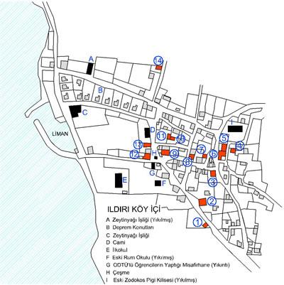<p><strong>Harita 2.</strong> Bu yazıda adı geçen köy içindeki yapılar. Altlık olarak  kullanılan harita 1971 tarihli kadastral planın yeniden çizilmesiyle elde  edilmiştir</p>