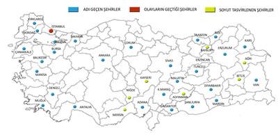 <p><strong>Harita  2.</strong> Romandaki Türkiye  Kentleri</p>