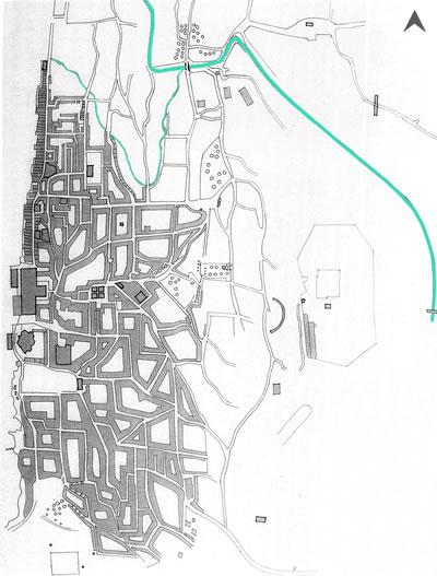 <p><strong>Harita  3. </strong>1780  tarihli, müellifi belirsiz bir çizimde kent merkezi ve Boyacı Deresi. (Akarsular  yazar tarafından vurgulanmıştır.)<br />  Kaynak: Beyru, 2011</p>
