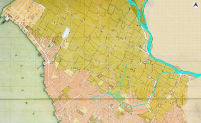 <p><strong>Harita  5.</strong> Luigi Storari&rsquo;ye ait, 1854-6 tarihli kent merkezini gösteren haritada Meles  Çayı ve Boyacı Deresi. (Akarsular yazar tarafından vurgulanmıştır.)<br />  Kaynak: APİKAM </p>