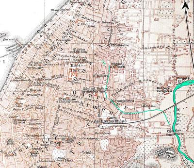 <p><strong>Harita  6.</strong> Joseph Meyer&rsquo;e ait, 19. yüzyılın sonunda kent merkezinin yerleşim planını  gösteren çizim. (Akarsular yazar tarafından vurgulanmıştır.)<br />  Kaynak: Kolektif, 2013, ss.100-108. </p>