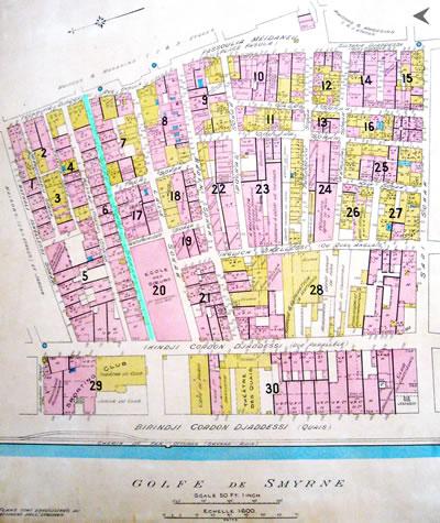 <p><strong>Harita  7. </strong>1905  tarihli İzmir Sigorta Planları&rsquo;nda &ldquo;Alteu Tchai&rdquo; Sokak. <br />  Kaynak: Goad,  1905. </p>