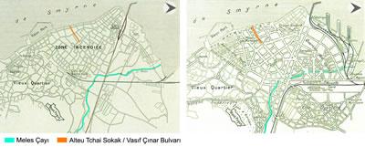 <p><strong>Harita  8. </strong>Alsancak  bölgesinin yangından önceki (1922) dokusu ile yangından sonra yapılan planlama  çalışmalarında (1925) öngörülen dokuda Meles Çayı, Alteu Tchai Sokak ve Vasıf  Çınar Bulvarı. <br />  Kaynak: Atay,  1998. </p>