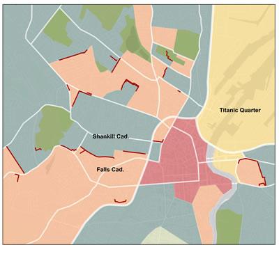 <strong>Harita 1. </strong>Bölünmüş  kentin fiziksel görünümü, Belfast, 2014