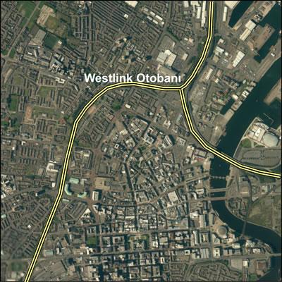 <p><strong>Harita 3. </strong>Westlink  Otobanı ve kent merkezi<br />Kaynak:  ESRI Imagery, 2014 </p>