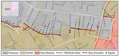 <p>  <strong>Harita 4. </strong>Barış  duvarları, bağlantısı kesilen yollar ve kapılar </p>