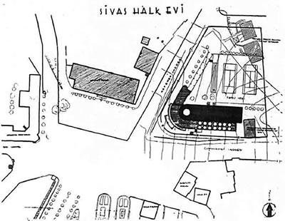 <p><strong>Plan  1.</strong> Sivas Halkevi  Vaziyet Planı<br />  Kaynak: İsimsiz, 1939, s.65.</p>