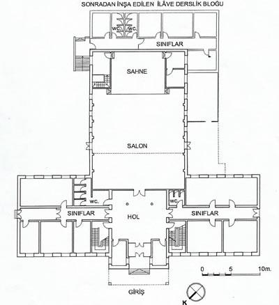 <p><strong>Plan  3.</strong> Halkevi binası ve  1950 sonrası ilave edilen derslik bloğunu gösteren plan krokisi<br />  Kaynak: <strong>Bilirkişi Raporu</strong>, 2012, s.1.</p>