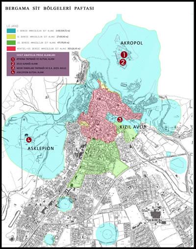 <p><strong>Şekil 1.</strong> 1/5000 ölçekli Bergama  Sit Bölgeleri Paftası üzerinde, i Visit Anatolia proje alanları gösterilmiştir.<br />Kaynak: Bergama Belediyesinden Fatih Kurunaz tarafından hazırlanmıştır.</p>